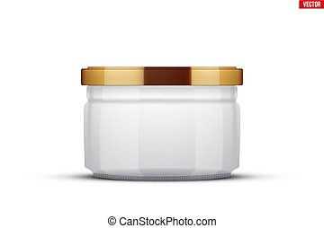Transparent Glass Jars for canning and preserving. With...