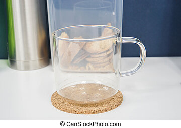 transparent glass mug with handle for hot tea and coffee