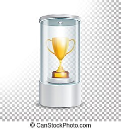 Transparent Glass Museum Showcase Podium With Golden Cup, Spotlight And Sparks. Mock Up Capsule Box For Award Ceremonies. Vector Illustration