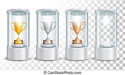 Transparent Glass Museum Showcase Podium With Golden, Silver, Bronze Cup, Spotlight And Sparks. Mock Up Capsule Box For Award Ceremonies. Vector Illustration