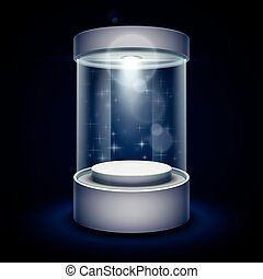 Transparent glass museum showcase podium with spotlight and sparks vector illustration