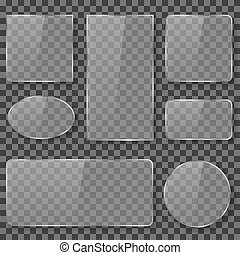 Transparent glass, plastic, acrylic plates banners vector stock