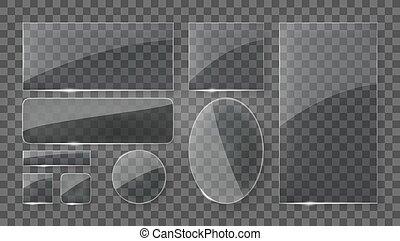 Transparent Glass Plates Banners Set