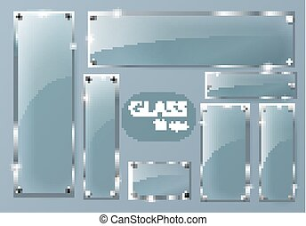 Transparent Glass plates set. Square shape, rectangle and...
