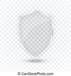 Transparent glass shield. Glass Badge Icon. Protection Shield Concept. Vector illustration