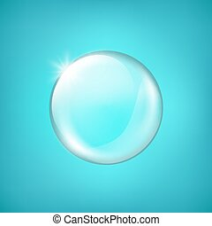 Transparent glass sphere with glares and highlight. Shiny...