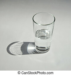 transparent glass with water on a white background