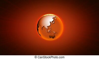 Transparent globe on red background