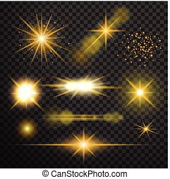 Transparent glow light effect. Star burst with sparkles.lens...