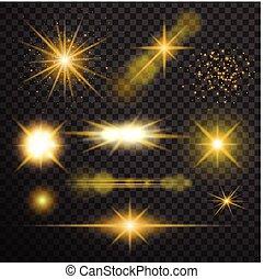 Transparent glow light effect. Star burst with sparkles.lens...