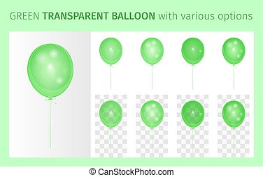 Transparent green balloon with various options