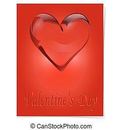 Transparent heart of rock crystal. Greeting card with the inscription on Valentinas day. illustration