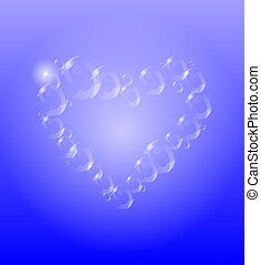Transparent heart with bubbles