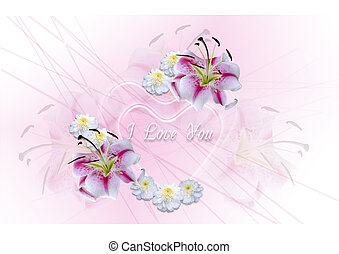 Transparent hearts with white lilie - Greeting card with I...