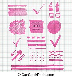 Transparent highlighter marks - Vector set of transparent...