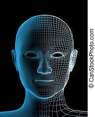 transparent, hovede af, den, person
