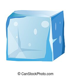 Transparent ice cube with uneven edges isolated illustration...