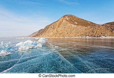 Transparent ice on lake Baikal