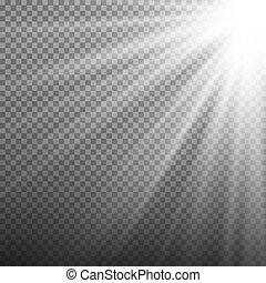 transparent, illustration, isolé, éclater, rayons, vector., light., vecteur, lumière, arrière-plan., effet