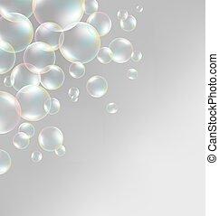 soap bubbles on grayscale - Transparent iridescent soap...