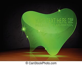 Transparent label, green haert on dark background.