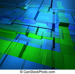 Transparent levels technology background - Transparent green...