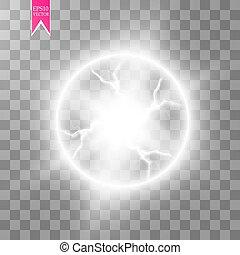 Transparent light effect of electric ball lightning. Magic plasma ball. Vector illustration. EPS 10.