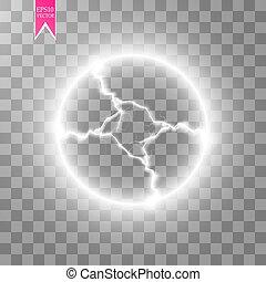 Transparent light effect of electric ball lightning. Magic...