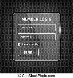 transparent login box on textured background