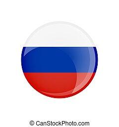 transparent, lustré, button., forme., verre, drapeau, cercle, russie