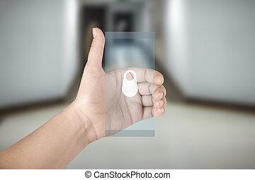 transparent, main, téléphone