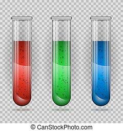 Transparent medical glass tube set, vector illustration