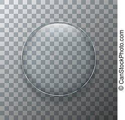 transparent, moderne, plaque, cercle, vecteur, verre