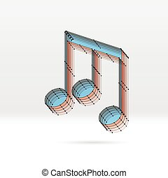 Transparent music note with dotted scheme - Transparent 3D...