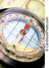 Transparent Navigational Compass on Topographical Map, Needle Pointing Dead North