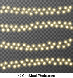 transparent, noël, vecteur, fond, illustration, isolé, lumières