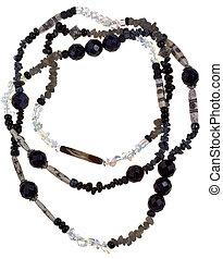 transparent, och, svart, sten, och, ben, halsband