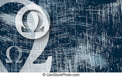 transparent omega symbol and scratched background