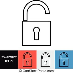 Transparent open padlock icon. Vector icon on different types backgrounds, Eps 10
