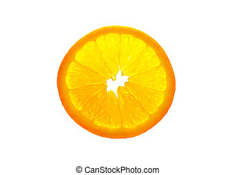 Transparent orange slice isolated on white background