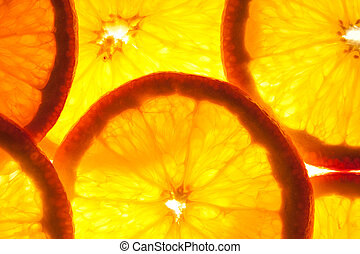Transparent orange slices