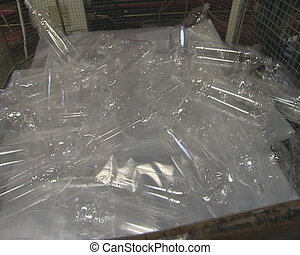 Transparent PET Bottles thrown in heap in factory.