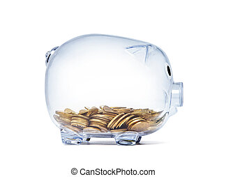Transparent piggy bank with golden coins on white background with clipping path