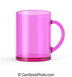 Transparent pink cup 3D render