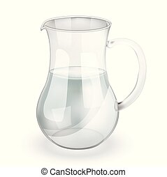 Transparent pitcher with clean water isolated on white background. Vector realistic object