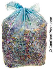 Transparent Plastic Bag with Paper Shreddings