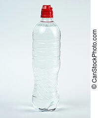transparent plastic bottle with fresh water on a white background