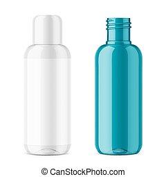 Transparent plastic cosmetic bottle template. - Transparent...