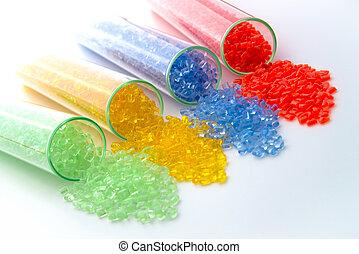 transparent plastic granulate in Test tubes