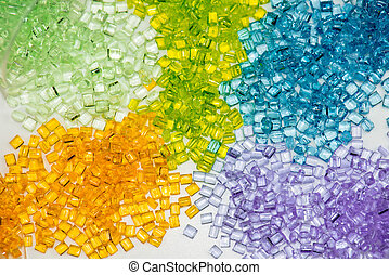 transparent polymer resin - several different dyed polymer...